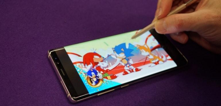 Samsung Galaxy Note 8 screen S-Pen stylus Sonic hero size