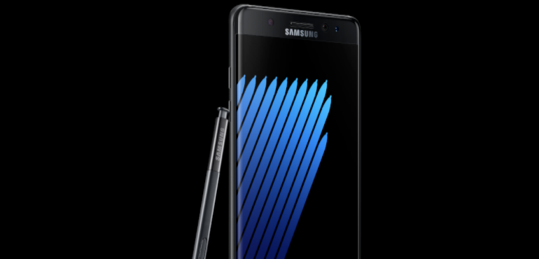 Samsung Galaxy Note 7 black angled