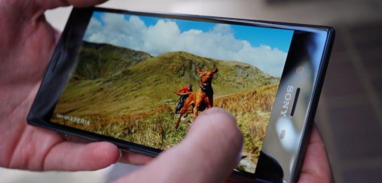 Sony Xperia XZ Premium dog image in-hand hero size