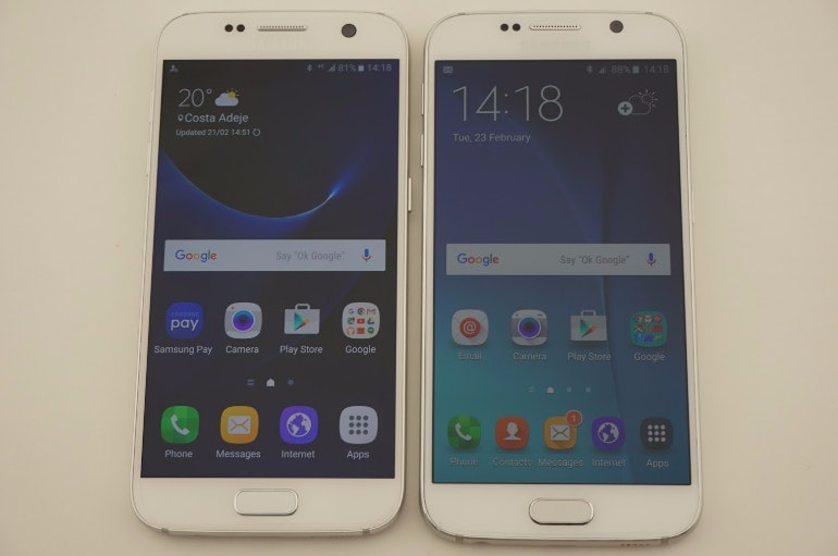 samsung galaxy s7 vs s6 front on larger