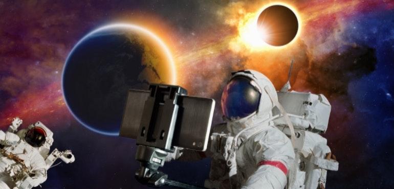 Astronaut taking a selfie in space