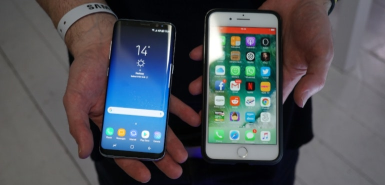 Samsung Galaxy S8 vs iPhone 7 Plus hero