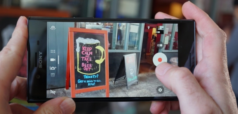 Sony Xperia XZ Premium camera in-action hero size signs