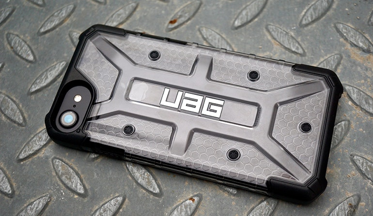 iphone uag case on metal floor