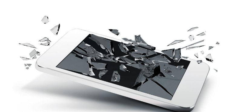 broken shattered phone