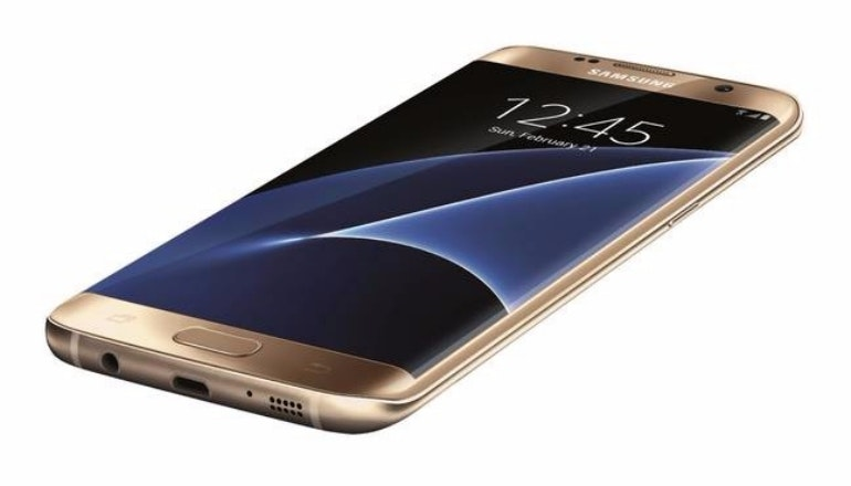 samsung galaxy s7 edge gold angled