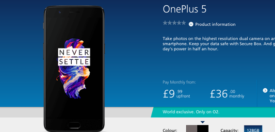 OnePlus 5 on sale on O2 monthly contracts