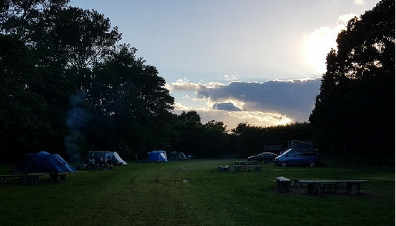 Campsite field poor light