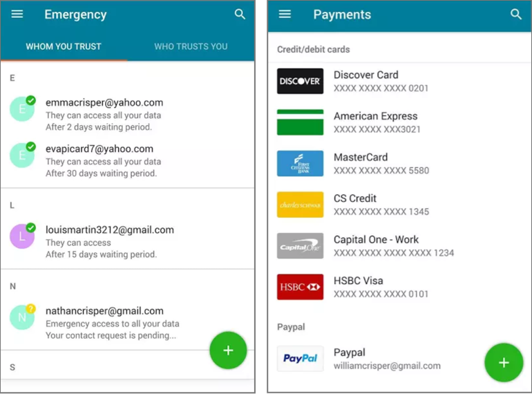 Dashlane screenshot payments and emergency contacts